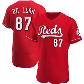 Men's Jose De Leon Cincinnati Red Authentic Alternate Baseball Jersey (Unsigned No Brands/Logos)