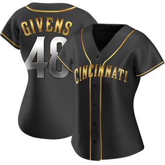 Women's Mychal Givens Cincinnati Black Golden Alternate Baseball Jersey (Unsigned No Brands/Logos)