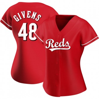 Women's Mychal Givens Cincinnati Red Authentic Alternate Baseball Jersey (Unsigned No Brands/Logos)
